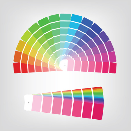 Set of colorful radial gradient badges and collapsed color papers made of rainbow spectral colors placed on light white background