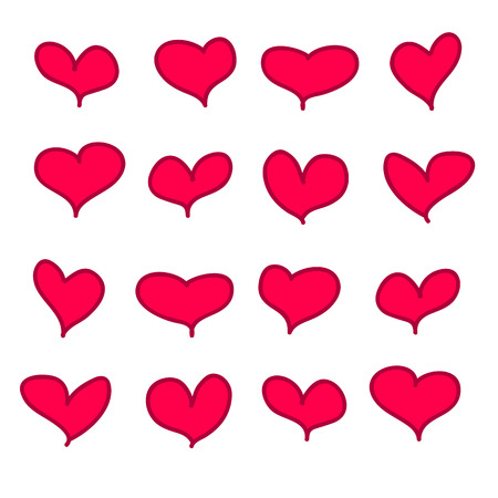 Set of 16 vector red pink calligraphic handdrawn hearts. Illustration