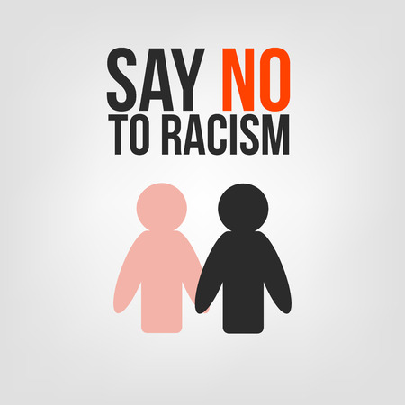 racial: Say no to racism. Black and white people are holding hands. Black man shaking hand of the white man Illustration