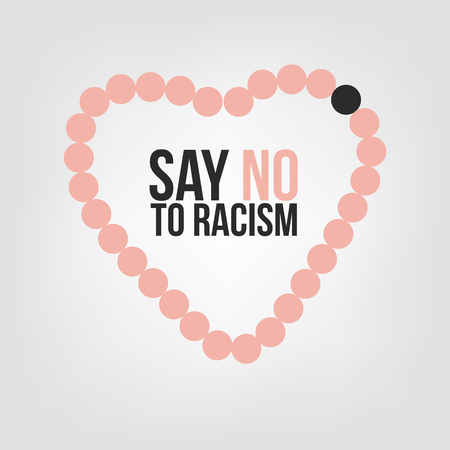 racial diversity: Say no to racism. Concept of the black person among white persons with demonstration of love as a heart shape