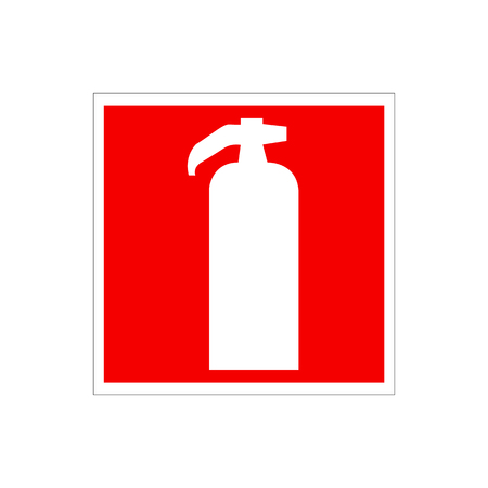 sihlouette: Drawing of a red fire extinguisher on the wall. Warning European Union Sign. White sihlouette of fire extinguisher system isolated on the red background. Illustration Vector, Caution Sign EU.