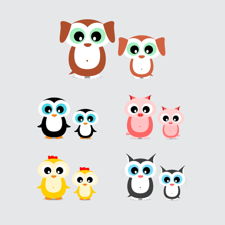 puppy and kitten: set of cute cartoon animals like hen, chicken, dog, puppy, cat, kitten, pig, piglet and penguin with child isolated on light background