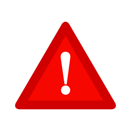 Red triangle caution warning alert sign vector illustration, isolated on white background. Be careful, do not, stop symbol and web icon.