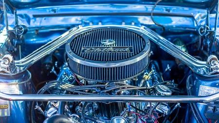 TALLINN, ESTONIA - MARCH 6, 2017: Black old Retro Vintage Engine at Car Moto Show Exhibition in Tallinn, Estonia with summer sunny weather