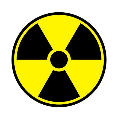 Vector illustration toxic sign, symbol. Warning radioactive zone in triangle icon isolated on white background. Radioactivity. Dangerous radiation area symbol. Chemistry poison plane mark.