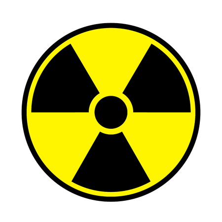 Vector illustration toxic sign, symbol. Warning radioactive zone in triangle icon isolated on white background. Radioactivity. Dangerous radiation area symbol. Chemistry poison plane mark.