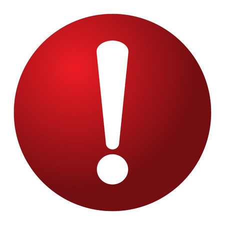 Red and white circle warning alert sign vector illustration. Caution 3d attention sign red and white. White exclamation point. Note, care, notice mark Иллюстрация
