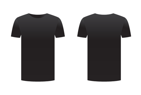 Black t-shirt template shirt isolated on white background front and back design short sleeve. Sport print ready clothing vector. Men, women or unisex design. Advertisement dress.