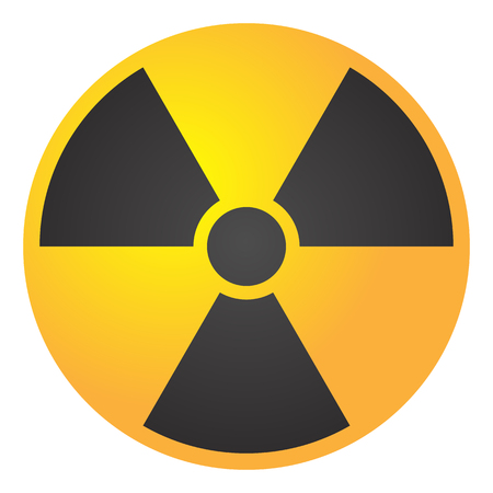 A Vector illustration toxic sign, symbol. Warning radioactive zone triangle icon isolated on white background Radioactivity Dangerous radiation area symbol yellow black. Chemistry poison plane mark 3d.