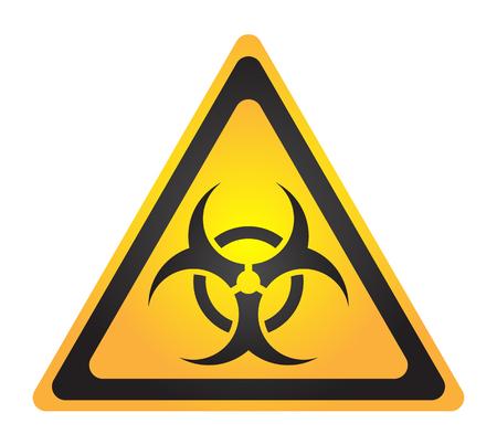 Biohazard ilustración signo tóxico, símbolo. Icono de triángulo de zona radiactiva de advertencia aislado sobre fondo blanco Radiactividad Símbolo de área de radiación peligrosa amarillo negro. Química veneno triángulo 3d.