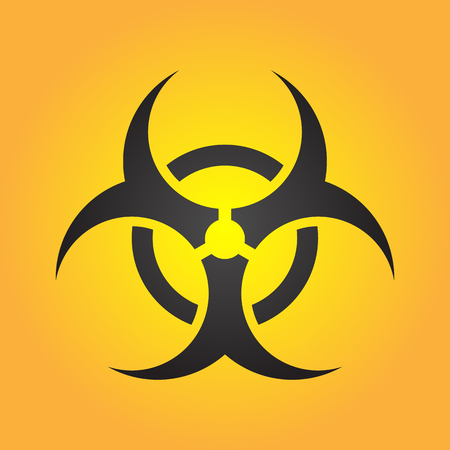 Biohazard illustration toxic sign, symbol. Warning radioactive zone triangle icon isolated on gradient background Radioactivity Dangerous radiation area symbol yellow black. Chemistry poison mark 3d.