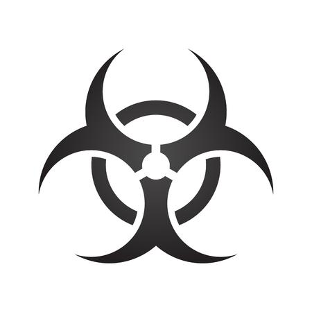 restricted area sign: Biohazard illustration toxic sign, symbol. Warning radioactive zone triangle icon isolated on gradient background Radioactivity Dangerous radiation area symbol white black. Chemistry poison mark 3d