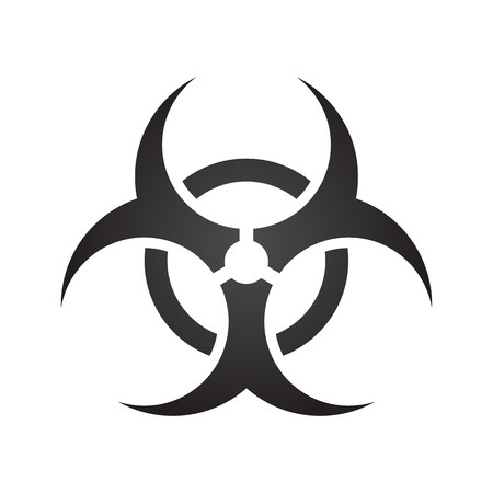 Biohazard illustration toxic sign, symbol. Warning radioactive zone triangle icon isolated on gradient background Radioactivity Dangerous radiation area symbol white black. Chemistry poison mark 3d