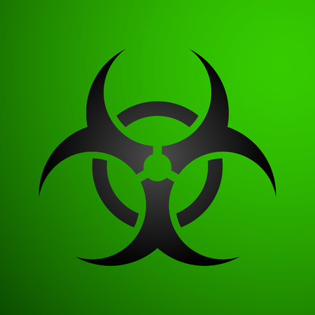 Biohazard illustration toxic sign, symbol. Warning radioactive zone triangle icon isolated on white background Radioactivity Dangerous radiation area symbol green black. Chemistry poison triangle 3d. Illustration