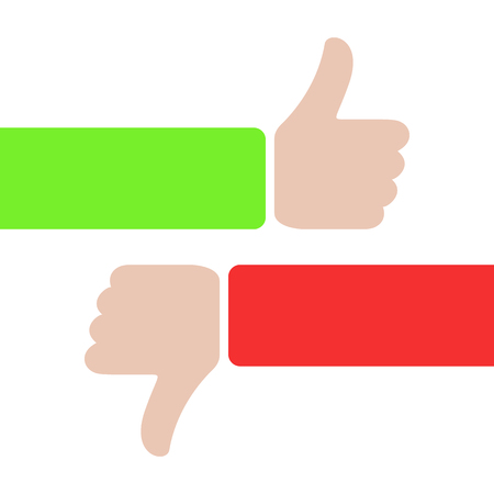 thumbs up and thumbs down, like and dislike concept. red and green hands with thumbs up or down. love or hate. plus, minus. true or false icon sign