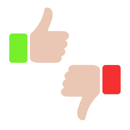 Thumbs up and thumbs down icon.