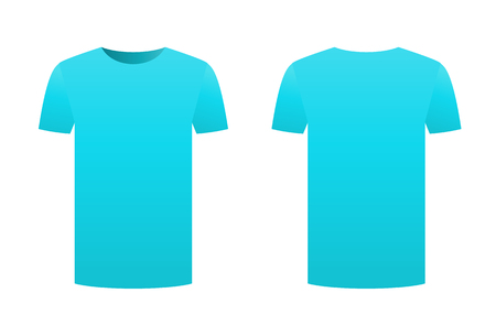 Blue t-shirt template shirt isolated on white background front and back design short sleeve. Sport print ready clothing vector. Men, women or unisex design. Advertisement dress. Empty clean template. Ilustracja