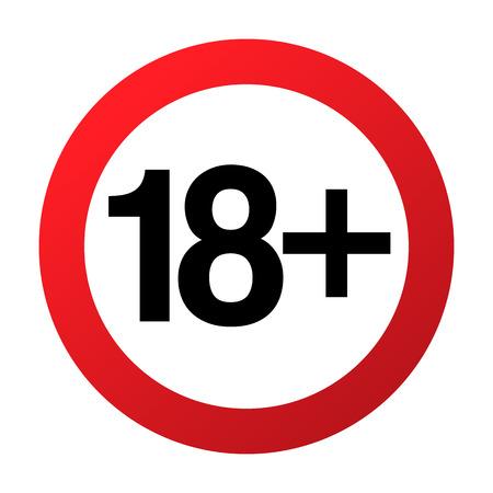 Señal de prohibición de menos de dieciocho años, solo adultos, ilustración vectorial. No permitido para adolescentes o personas mayores de 18 años. Control parental. Muestra roja del círculo con los números cruzados