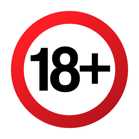 Unter achtzehn Jahren Verbotszeichen nur Erwachsene, Vektorillustration. Nicht zulässig für Jugendliche oder Personen vor 18 Jahren. Elterliche Kontrolle. Rotes Zeichen des Kreises mit den Zahlen gekreuzt