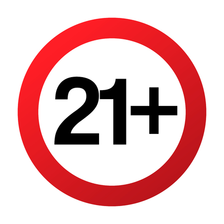 Under twenty one years prohibition sign, adults only, vector illustration. Not allowed for teenagers or people before 21 years old. Parental control. Circle red sign with numbers crossed