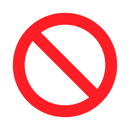 No Sign. Isolated on white background. Restriction sign prohibited not allowed warning. Stop or ban danger red sign. Crossed line information to precent prohibit road.
