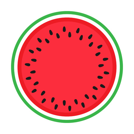 Watermelon colorful icon isolated on white. Circle red green watermelon illustration vector EPS. Ilustração