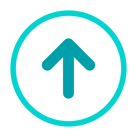 Aquamarine blue rounded arrow up in light blue circle icon. flat upload sign isolated on white. point up button. north sign Banco de Imagens