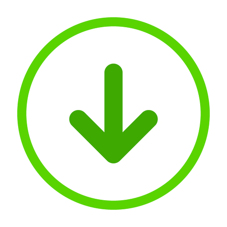 Green rounded arrow down in Green lime circle icon. flat download sign isolated on white. point down button. south sign