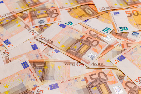 50 euro background pattern tile. Euro currency banknotes stack. Money bank finance business loan