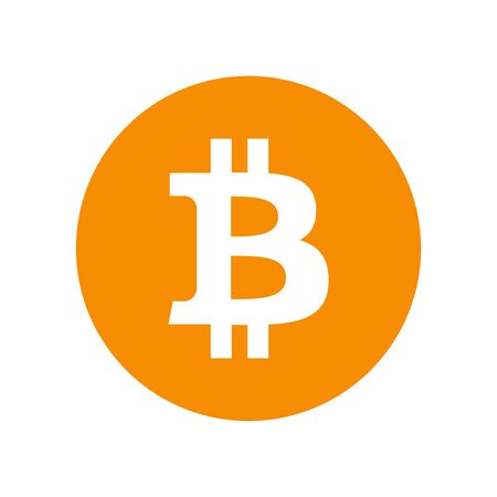 Bitcoin sign icon for internet money. Crypto currency symbol and coin image for using in web projects or mobile applications. Blockchain based secure cryptocurrency. Isolated vector illustration. Ilustração