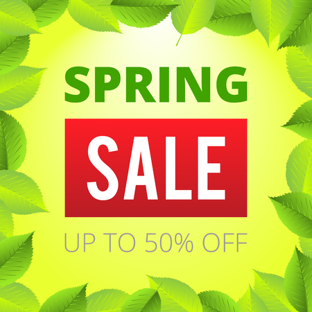 Spring Sale Lettering Design Background. Up to 50 percent off discount. Season sale green illustration poster.