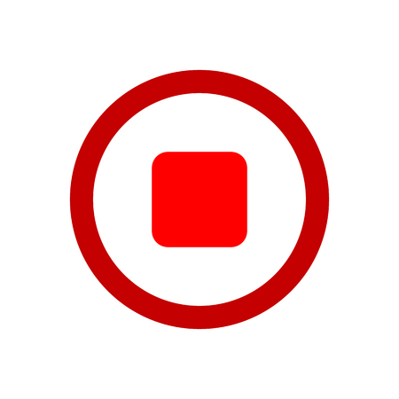 Red stop button on white. Stop music sign.