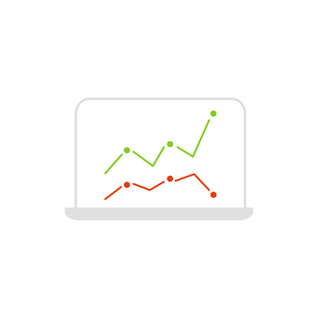 Vector laptop icon with business graph on the screen.  イラスト・ベクター素材