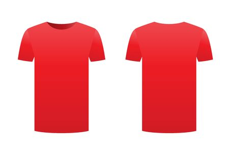 Red t-shirt template isolated on a white background