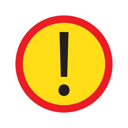 Red and yellow circle warning alert sign vector illustration. Caution ttention sign black, red and yellow. Black exclamation point. Note, care, notice mark