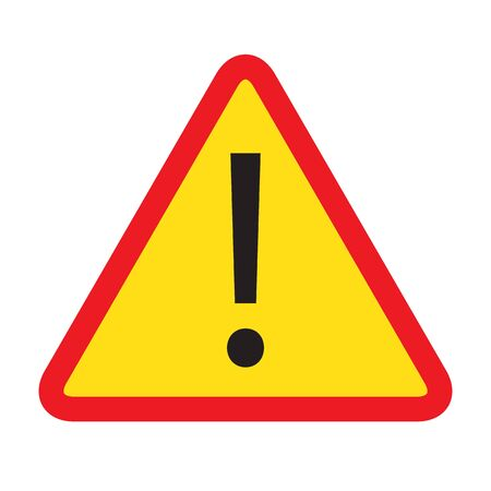 Red triangle warning alert sign vector illustration. Caution 3d attention sign red and white. Black exclamation point. Note, care, notice mark