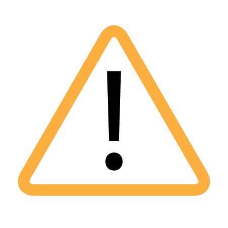Yellow orange triangle warning alert sign vector illustration. Caution 3d attention sign red and white. Black exclamation point. Note, care, notice mark