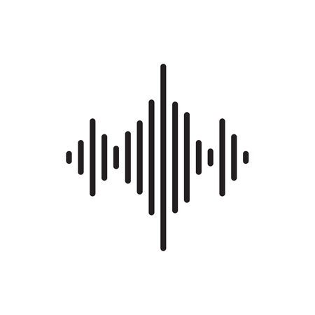 Sound wave icon flat vector music.