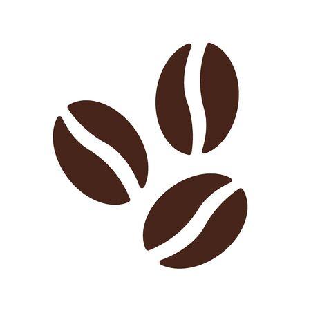 Café marrón del vector del icono del símbolo de los granos de café plano. Ilustración de vector