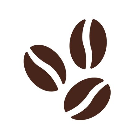 Coffee beans symbol icon vector brown cafe flat.