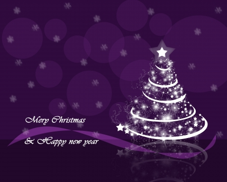 Christmas tree on a background of falling snow and purple ribbons