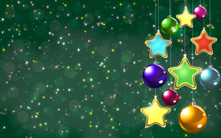 shiny Christmas toys on a green background with stars