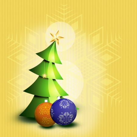 Christmas tree with two balls Vector