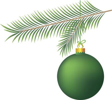 Green Christmas ball with Christmas tree branch