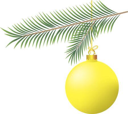 Yellow Christmas ball with Christmas tree branch
