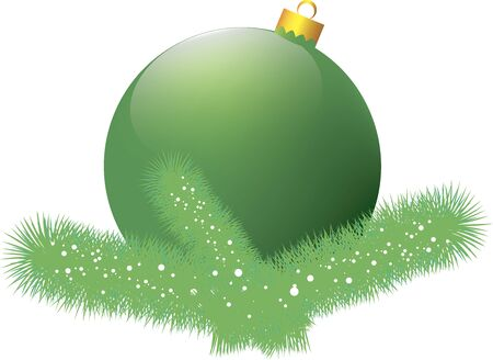 Christmas card with green ball