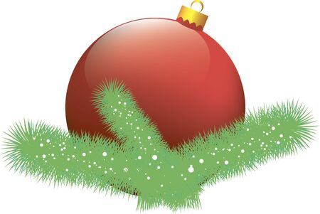 Christmas card with red ball Illustration