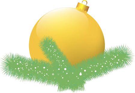 Christmas card with yellow ball Stock Vector - 16957739