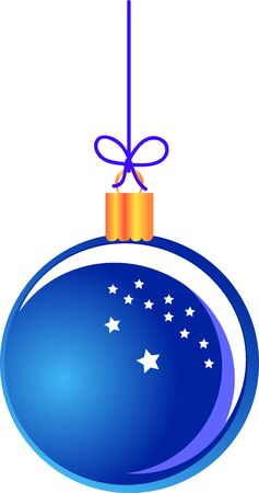 Blue Christmas ball hanging on a string Illustration