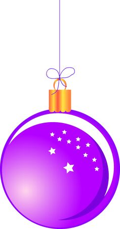 Purple Christmas ball hanging on a string
